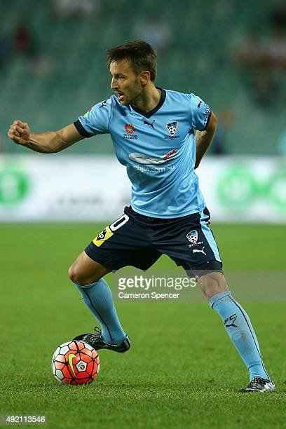 Milos Ninkovic of Sydney FC controls the ball during the round one ALeague match between Sydney FC and Melbourne City FC at Allianz Stadium on...