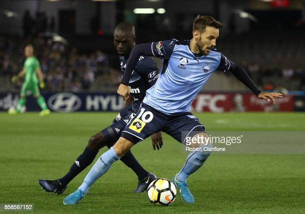 Milos Ninkovic of Sydney FC controls the ball during the round one ALeague match between the Melbourne Victory and Sydney FC at Etihad Stadium on...