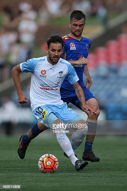 Milos Ninkovic of Sydney FC controls the ball during the round two ALeague match between the Newcastle Jets and Sydney FC at Hunter Stadium on...