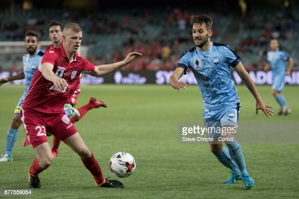 Milos Ninkovic of Sydney FC dribbles the ball during the FFA Cup Final match between Sydney FC and Adelaide United at Allianz Stadium on November 21...