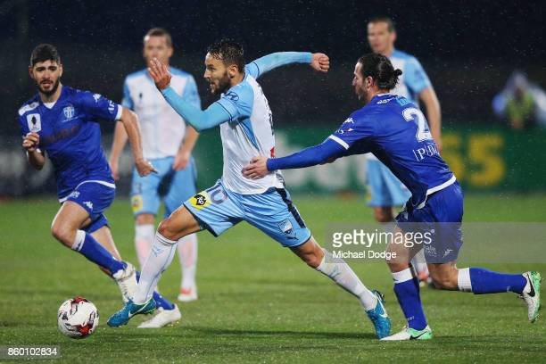 Milos Ninkovic of Sydney FC kicks the ball during the FFA Cup Semi Final match between South Melbourne FC and Sydney FC at Lakeside Stadium on...