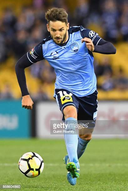 Milos Ninkovic of Sydney FC looks to pass the ball during the round one ALeague match between the Melbourne Victory and Sydney FC at Etihad Stadium...
