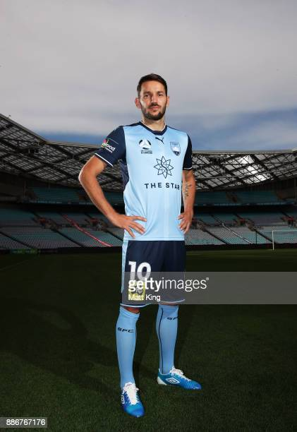 Milos Ninkovic of Sydney FC poses during a joint Sydney FC and Western Sydney Wanderers ALeague media opportunity at ANZ Stadium on December 6 2017...