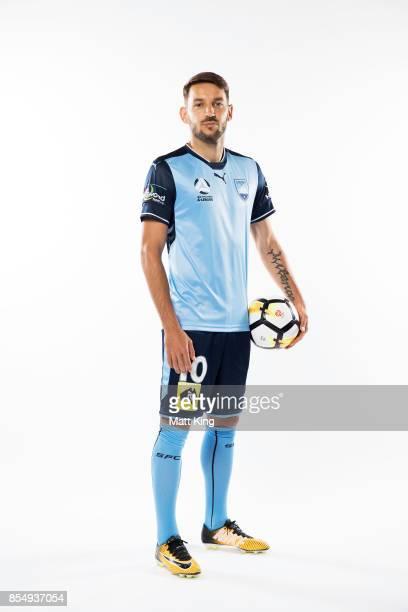Milos Ninkovic of Sydney FC poses during the ALeague Media Day on September 26 2017 in Sydney Australia