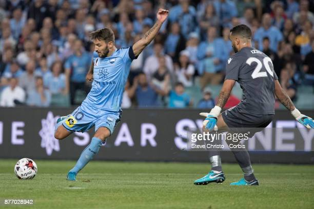 Milos Ninkovic of Sydney FC scores his team's first goal during the FFA Cup Final match between Sydney FC and Adelaide United at Allianz Stadium on...
