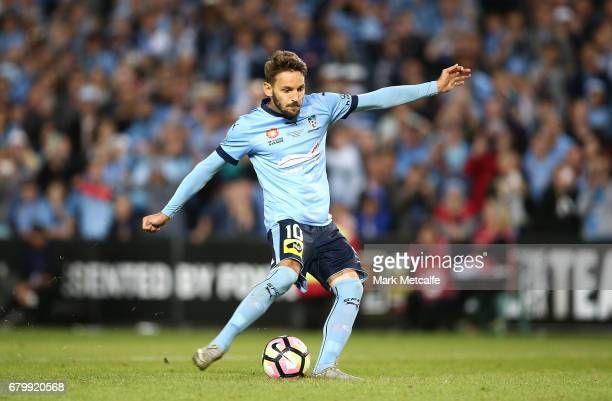 Milos Ninkovic of Sydney FC scores the winning goal during the penalty shoot out during the 2017 ALeague Grand Final match between Sydney FC and the...