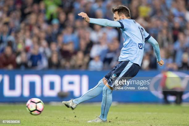 Milos Ninkovic of Sydney FC scores the winning penalty during the 2017 ALeague Grand Final match between Sydney FC and the Melbourne Victory at...
