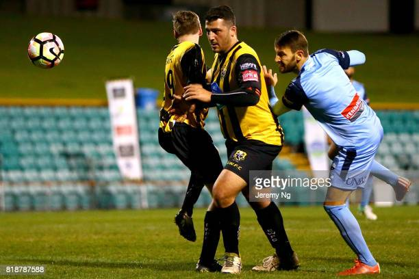 Milos Ninkovic of Sydney FC shoots the ball during the 2017 Johnny Warren Challenge match between Sydney FC and Earlwood Wanderers at Leichhardt Oval...