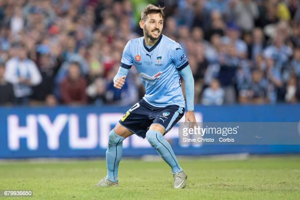Milos Ninkovic of Sydney FC watches as he scores the winning penalty during the 2017 ALeague Grand Final match between Sydney FC and the Melbourne...