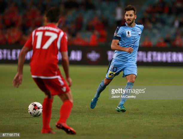 Milos Ninkovic of Sydney passes the ball during the FFA Cup Final match between Sydney FC and Adelaide United at Allianz Stadium on November 21 2017...