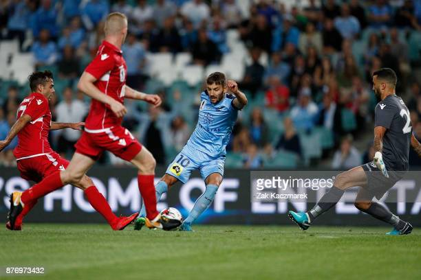 Milos Ninkovic of Sydney scores a goal during the FFA Cup Final match between Sydney FC and Adelaide United at Allianz Stadium on November 21 2017 in...