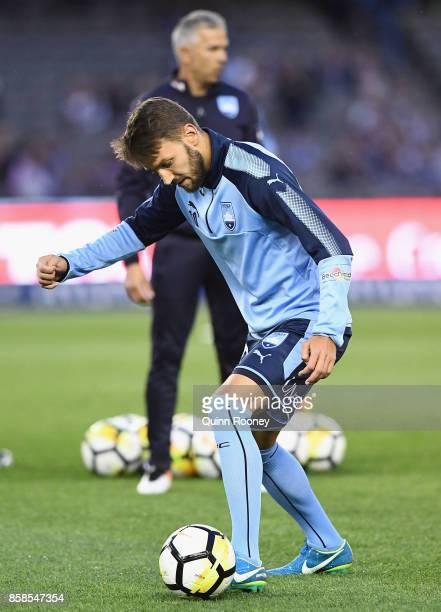 Milos Ninkovic of Sydney warms up during the round one ALeague match between the Melbourne Victory and Sydney FC at Etihad Stadium on October 7 2017...