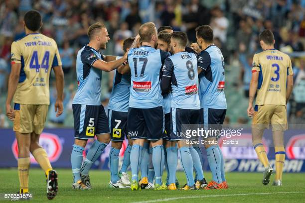 Milos Ninkovic of the Sydney FC celebrates after scoring the first goal during the round seven ALeague match between Sydney FC and Newcastle Jets at...