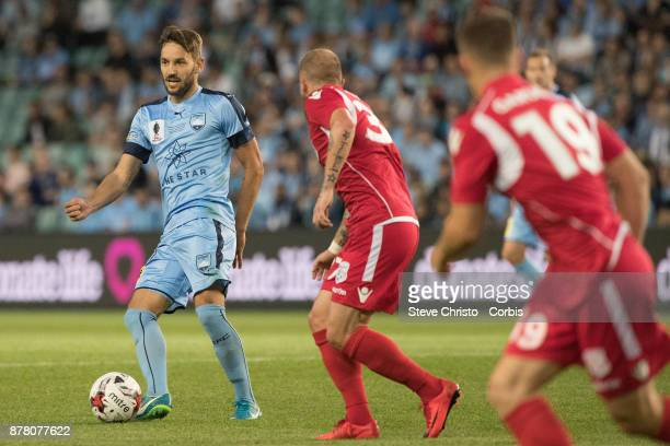 Milos Ninkovic passes the ball during the FFA Cup Final match between Sydney FC and Adelaide United at Allianz Stadium on November 21 2017 in Sydney...