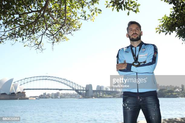 Milos Ninkovic poses during a Sydney FC ALeague media opportunity to announce his resigning with the club at Mrs Macquarie's Chair on May 9 2017 in...