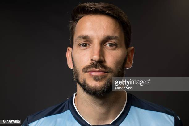 Milos Ninkovic poses during the Sydney FC ALeague headshots session at Macquarie University on September 5 2017 in Sydney Australia