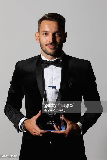 Milos Ninkovic poses with the Members Player of the Year trophy during the 2017 Sky Blue Ball at Sydney Cricket Ground on May 12 2017 in Sydney...