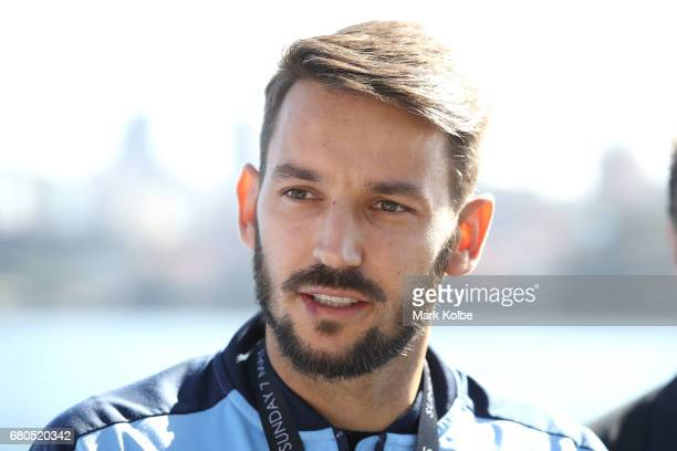 Milos Ninkovic speaks to the media during a Sydney FC ALeague media opportunity to announce his resigning with the club at Mrs Macquarie's Chair on...