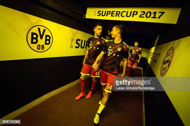 Milos Pantovic and Marco Friedl of Munich arrive in the player tunnel prior to the DFL Supercup 2017 match between Borussia Dortmund and Bayern...