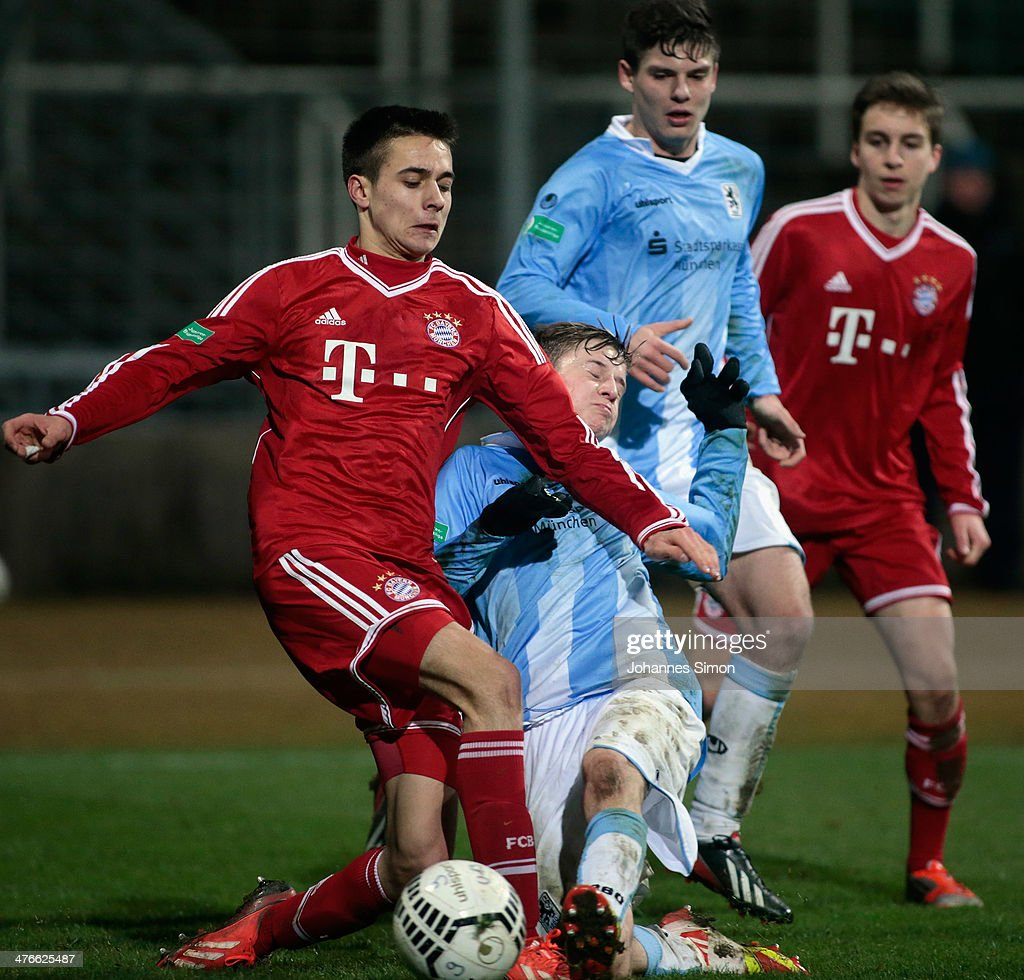 Milos Pantovic (L) of FC Bayern in action during the A Juniors Bundesliga match between 1860 Muenchen and Bayern Muenchen at Stadion an der Gruenwalder Strasse on February 21, 2014 in Munich, Germany.