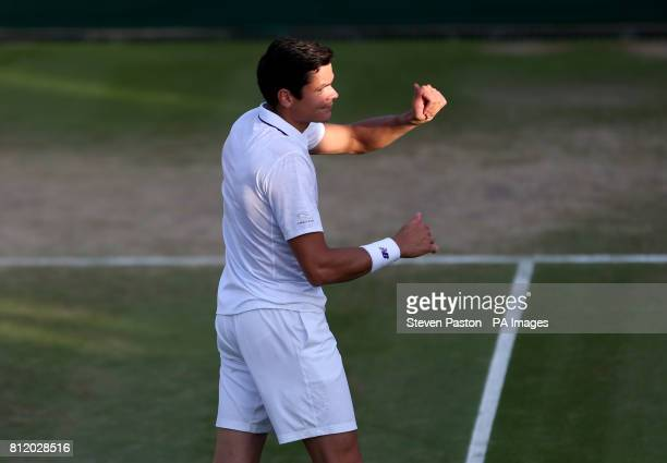 Milos Raonic celebrates beating Alexander Zverev on day seven of the Wimbledon Championships at The All England Lawn Tennis and Croquet Club Wimbledon
