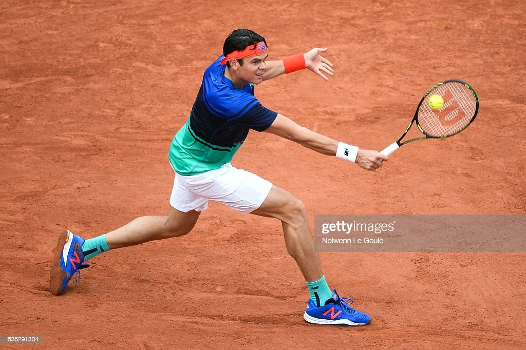Milos Raonic during the Men's Singles on day eight of the French Open 2016 on May 29, 2016 in Paris, France.