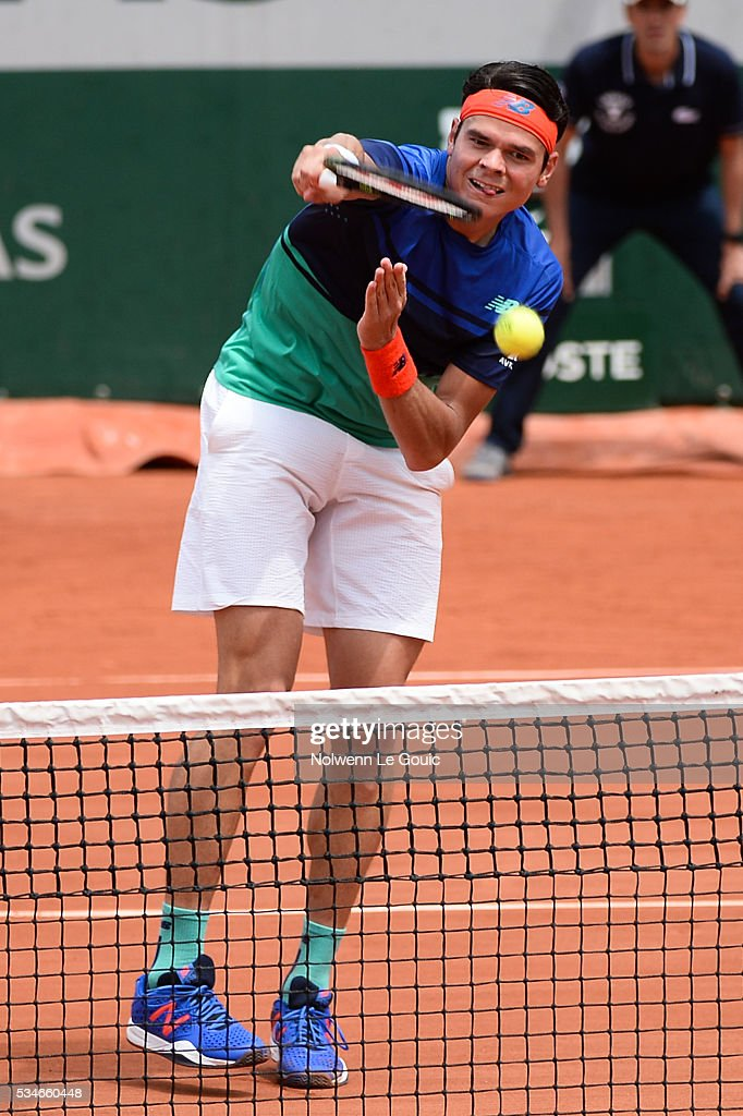 Milos Raonic during the Men's Singles third round on day six of the French Open 2016 at Roland Garros on May 27, 2016 in Paris, France.