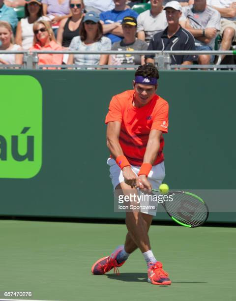 Milos Raonic in action during the 2017 Miami Open in Key on March 24 at the Tennis Center at Crandon Park in Key Biscayne FL