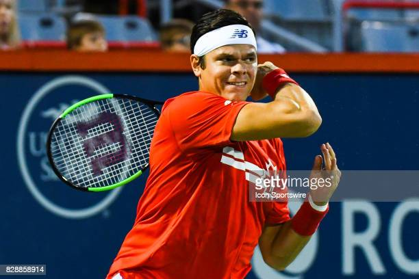 Milos Raonic looking at the ball going away during his second round match at ATP Coupe Rogers on August 9 at Uniprix Stadium in Montreal QC