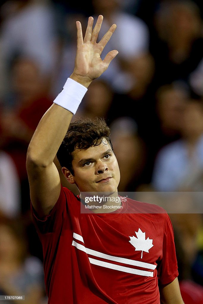 Milos Raonic of Canada acknowledges the crowd after his win over Jeremy Chardy of France during the Rogers Cup at Uniprix Stadium on August 6, 2013 in Montreal, Quebec, Canada.