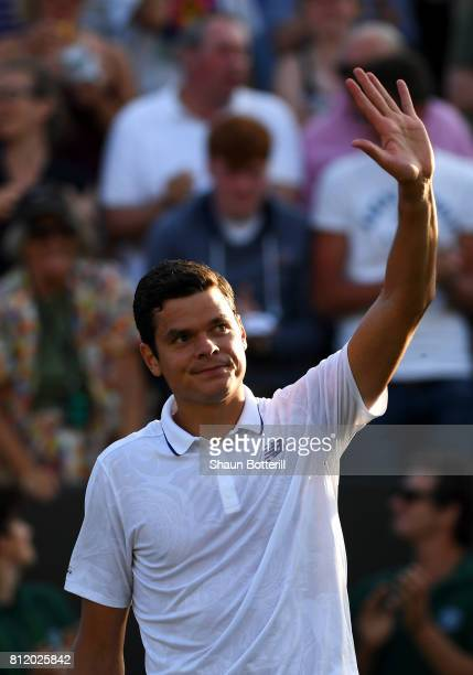 Milos Raonic of Canada acknowledges the crowd as he celebrates victory after the Gentlemen's Singles fourth round match against Alexander Zverev of...