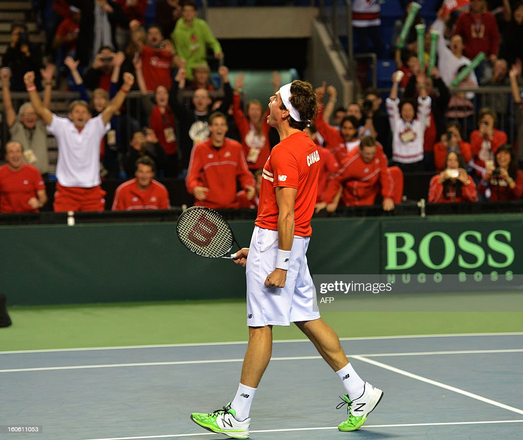 Milos Raonic of Canada celebrates after defeating Guillermo Garcia-Lopez of Spain in the Davis Cup World Group first round match on February 3, 2019 at the Doug Mitchell Thunderbird Sports Centre in Vancouver. Raonic won 6-3, 6-4, 6-2 to send Canada into their first Davis Cup quarter-final. AFP PHOTO/Don MacKinnon