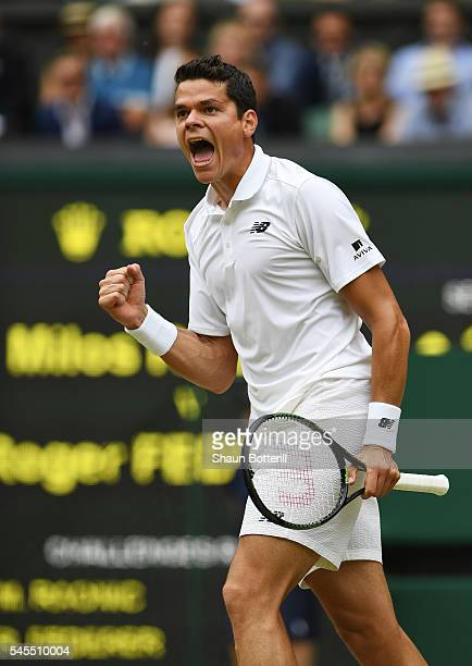 Milos Raonic of Canada celebrates during the Men's Singles Semi Final match against Roger Federer of Switzerland on day eleven of the Wimbledon Lawn...