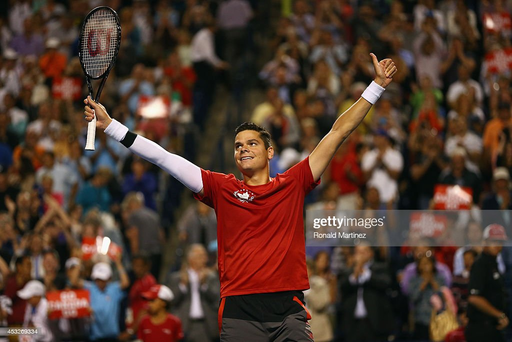 <a gi-track='captionPersonalityLinkClicked' href=/galleries/search?phrase=Milos+Raonic&family=editorial&specificpeople=5421226 ng-click='$event.stopPropagation()'>Milos Raonic</a> of Canada celebrates his win against Jack Sock of United States during Rogers Cup at Rexall Centre at York University on August 6, 2014 in Toronto, Canada.