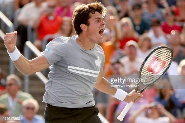 Milos Raonic of Canada celebrates match point against Vasek Pospisil of Canada during the semifinals of the Rogers Cup at Uniprix Stadium on August...