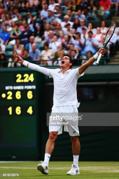 Milos Raonic of Canada celebrates match point and winning his Gentlemen's Singles quarterfinal match against Nick Kyrgios of Australia on day nine of...