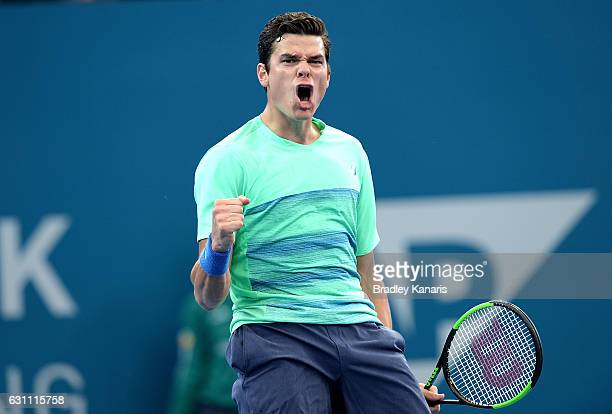 Milos Raonic of Canada celebrates winning a point against Grigor Dimitrov of Bulgaria during their semi final match on day seven of the 2017 Brisbane...