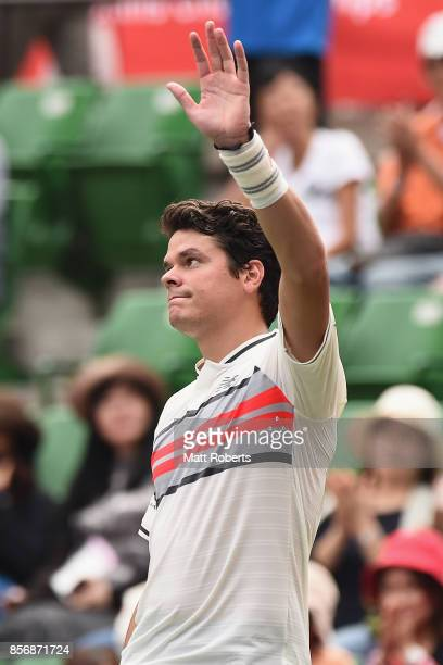 Milos Raonic of Canada celebrates winning his match against Viktor Troicki of Serbia during day two of the Rakuten Open at Ariake Coliseum on October...