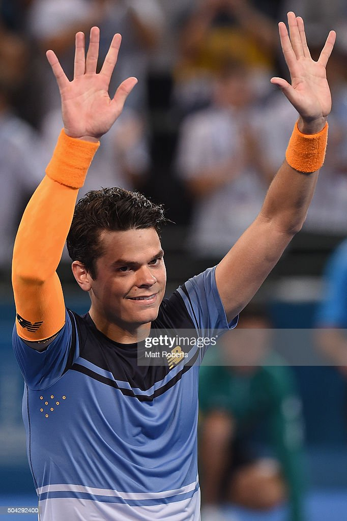 Milos Raonic of Canada celebrates winning the Mens Final against Roger Federer of Switzerland during day eight of the 2016 Brisbane International at Pat Rafter Arena on January 10, 2016 in Brisbane, Australia.