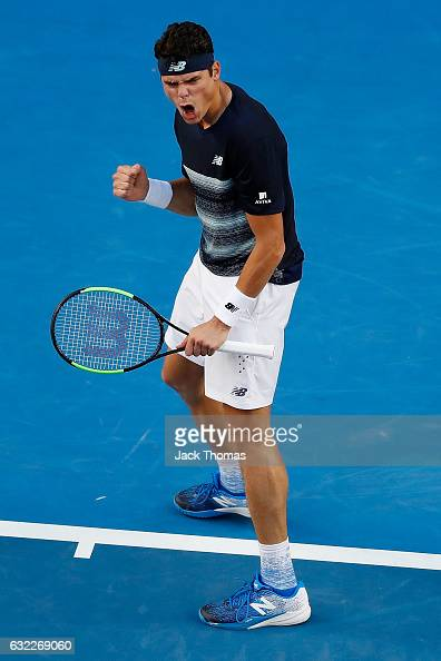 Milos Raonic of Canada celebrates winning the second set in his third round match against Gilles Simon of France on day six of the 2017 Australian...