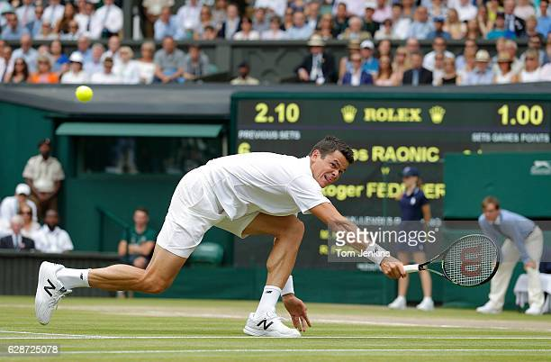 Milos Raonic of Canada during his victory over Roger Federer of Switzerland on Centre Court during day eleven of the 2016 Wimbledon tennis...