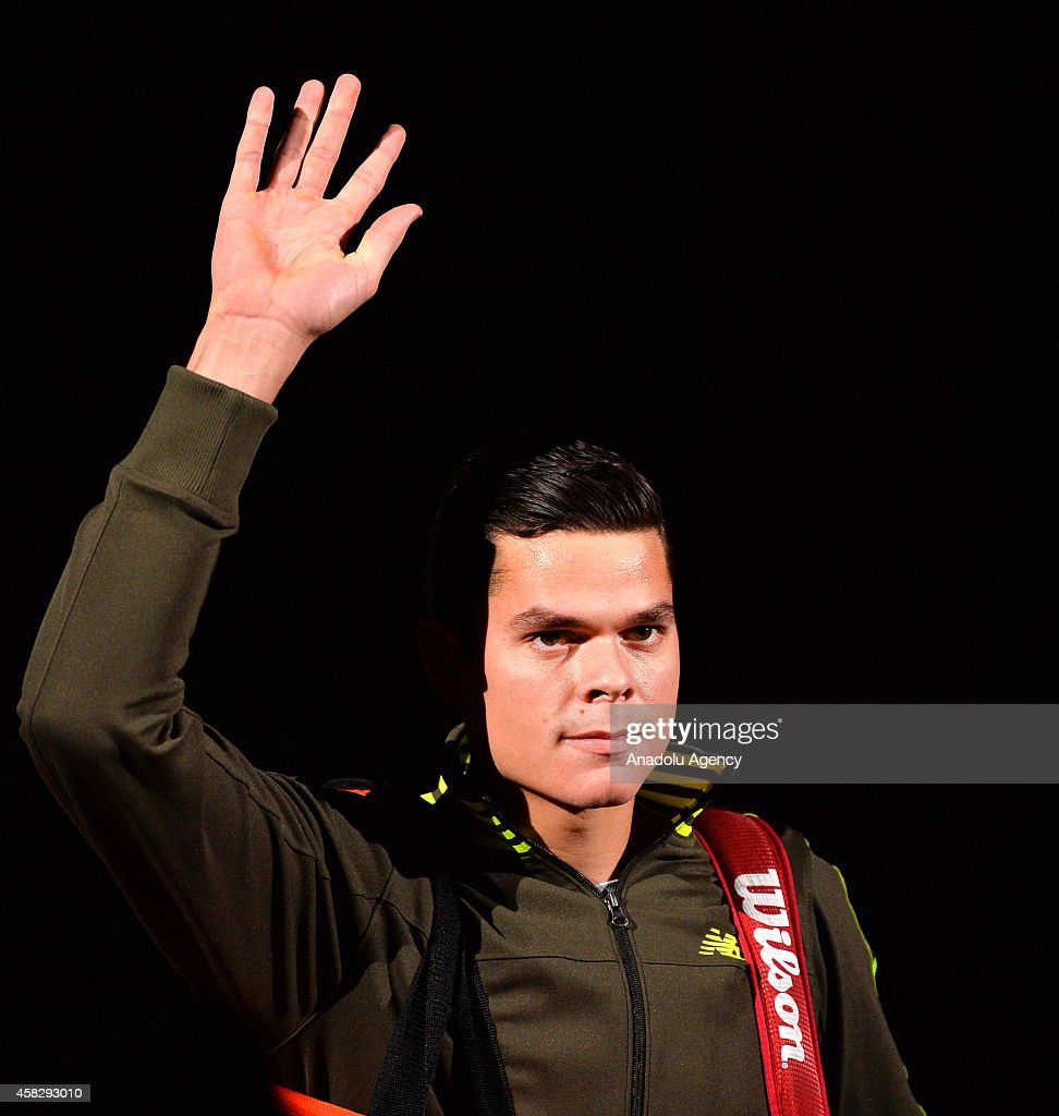 Milos Raonic of Canada greets the audience after the Final match during day 7 of the BNP Paribas Masters held at the at Palais Omnisports de Bercy in Paris, France, on November 2, 2014.