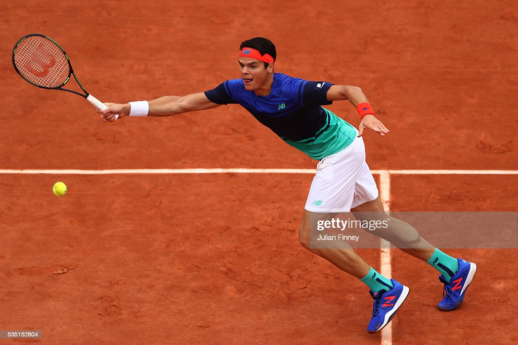 <a gi-track='captionPersonalityLinkClicked' href=/galleries/search?phrase=Milos+Raonic&family=editorial&specificpeople=5421226 ng-click='$event.stopPropagation()'>Milos Raonic</a> of Canada hits a forehand during the Men's Singles fourth round match against Alberto Ramos Vinolas of Spain on day eight of the 2016 French Open at Roland Garros on May 29, 2016 in Paris, France.