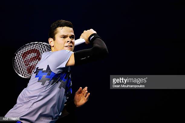 Milos Raonic of Canada in action against Roberto Bautista Agut of Spain during day 4 of the BNP Paribas Masters held at the at Palais Omnisports de...