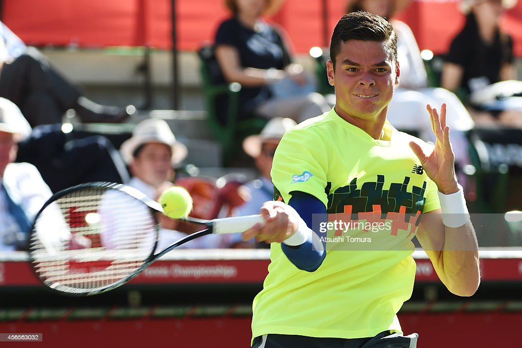 Milos Raonic of Canada in action during men's singles quater final match against Denis Istoman of Uzbekistan on day five of Rakuten Open 2014 at...