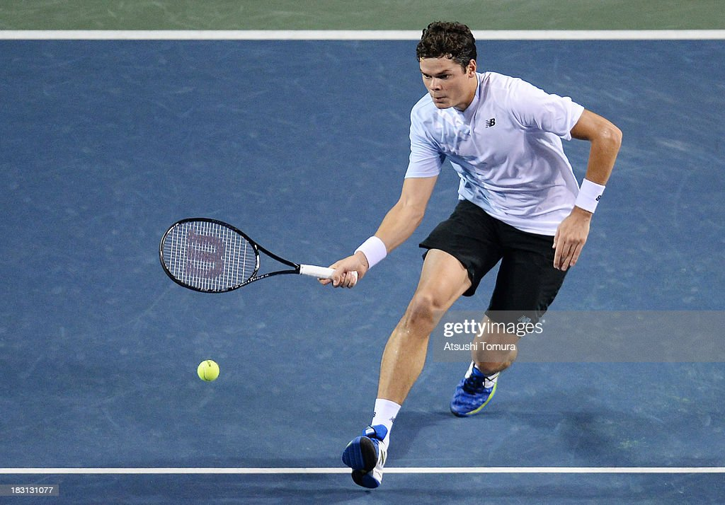 Milos Raonic of Canada in action during men's singles semi final match against Ivan Dodig of Croatia during day six of the Rakuten Open at Ariake Colosseum on October 5, 2013 in Tokyo, Japan.