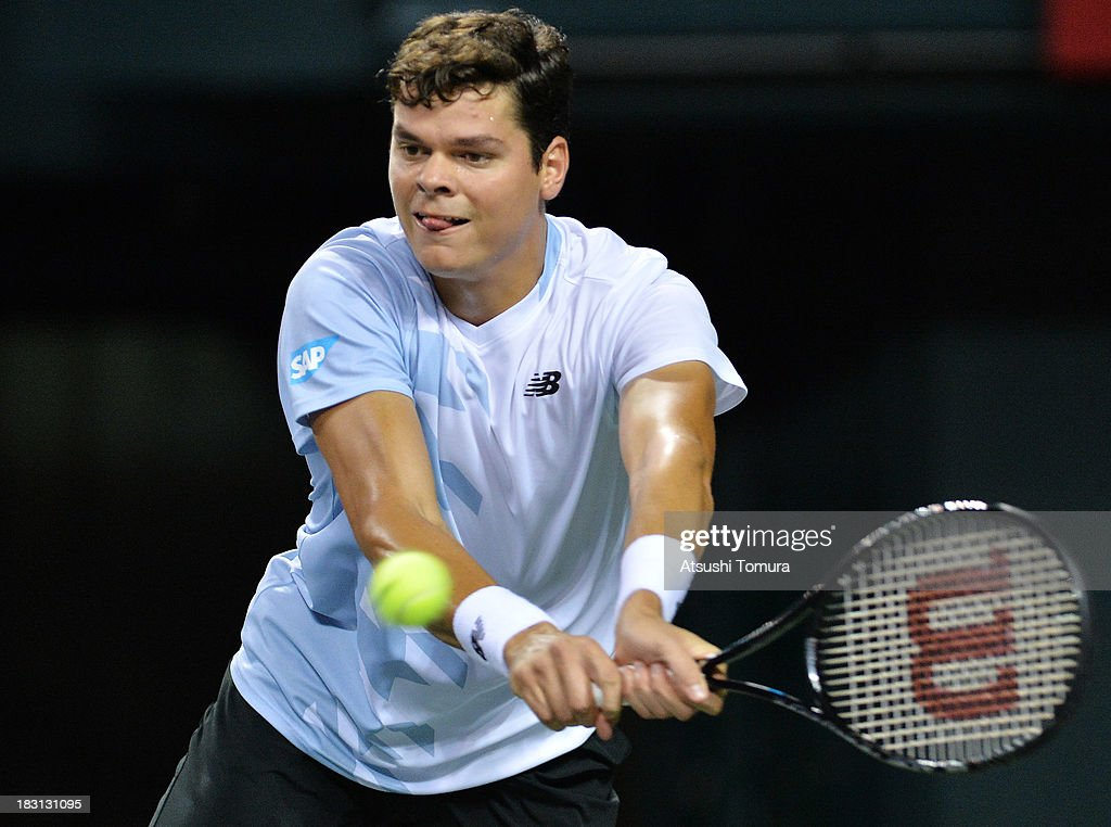 <a gi-track='captionPersonalityLinkClicked' href=/galleries/search?phrase=Milos+Raonic&family=editorial&specificpeople=5421226 ng-click='$event.stopPropagation()'>Milos Raonic</a> of Canada in action during men's singles semi final match against Ivan Dodig of Croatia during day six of the Rakuten Open at Ariake Colosseum on October 5, 2013 in Tokyo, Japan.