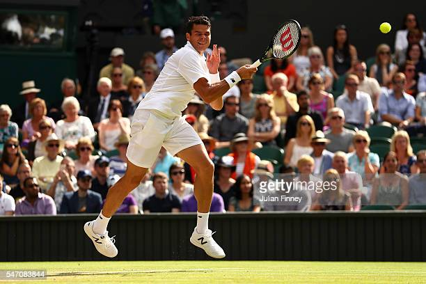 Milos Raonic of Canada in action during the Men's Singles Final against Andy Murray of Great Britain on day thirteen of the Wimbledon Lawn Tennis...