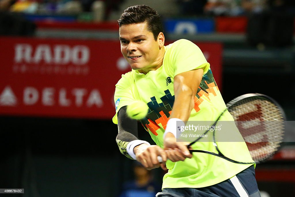 <a gi-track='captionPersonalityLinkClicked' href=/galleries/search?phrase=Milos+Raonic&family=editorial&specificpeople=5421226 ng-click='$event.stopPropagation()'>Milos Raonic</a> of Canada in action during the men's singles final match against Kei Nishikori of Japan on day seven of Rakuten Open 2014 at Ariake Colosseum on October 5, 2014 in Tokyo, Japan.