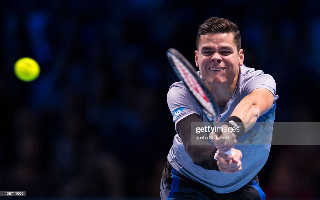 Milos Raonic of Canada in action in his match against Roger Federer of Switzerland in the round robin during day one of the Barclays ATP World Tour Finals tennis at O2 Arena on November 9, 2014 in London, England.